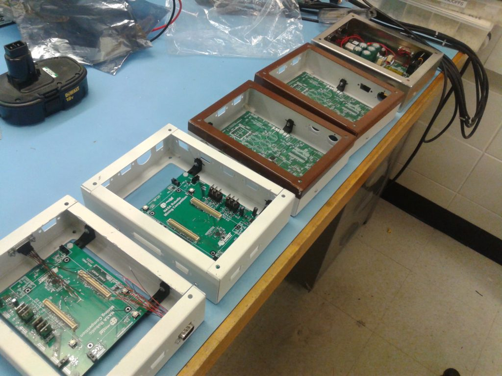 partway through assembly of the final controllers and power management boxes