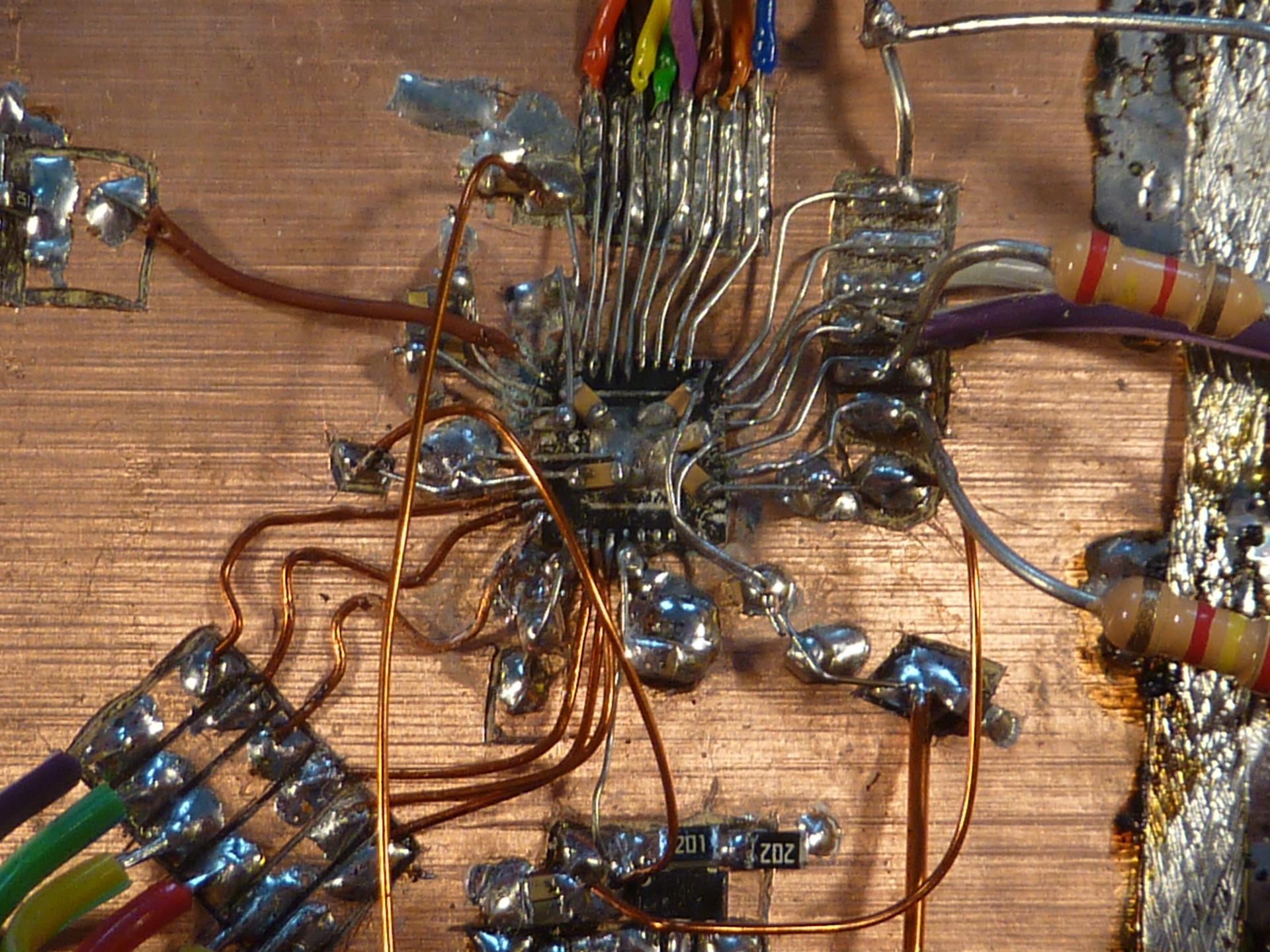 Deadbugged gigabit PHY used for testing the FPGA firmware